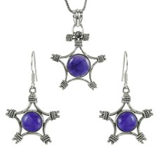 Beautiful 925 Sterling Silver Amethyst Gemstone Pendant and Earrings Set