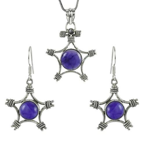 Beautiful 925 Sterling Silver Amethyst Gemstone Pendant and Earrings Set