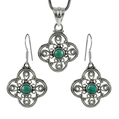 Rare 925 Sterling Silver Turquoise Gemstone Pendant and Earrings Set
