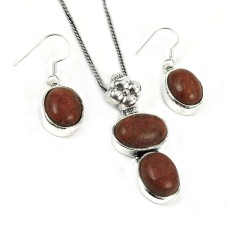 Trendy 925 Sterling Silver Sponge Coral Pendant and Earrings Set