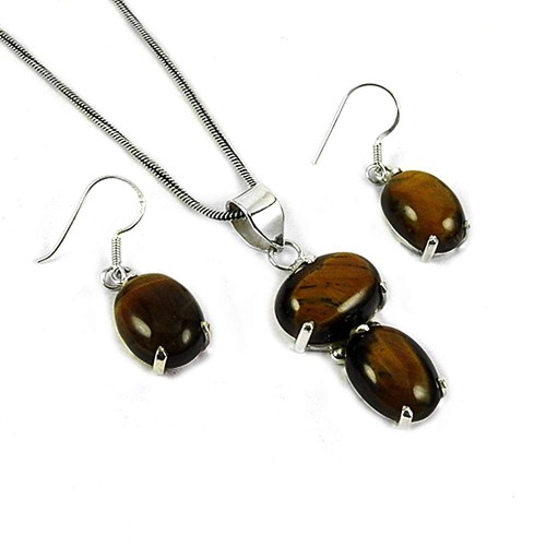 Graceful 925 Sterling Silver Tiger Eye Gemstone Pendant and Earrings Set
