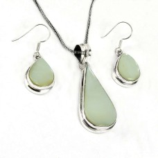 Dainty 925 Sterling Silver Mother Of Pearl Pendant and Earrings Set
