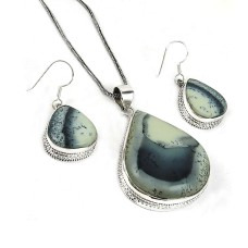Perfect 925 Sterling Silver Dendritic Agate Gemstone Pendant and Earrings Set