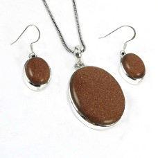 Well-Favoured 925 Sterling Silver Brown Sunstone Gemstone Pendant and Earrings Set