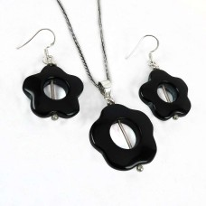 Possessing Good Fortune 925 Sterling Silver Black Onyx Gemstone Pendant and Earrings Set