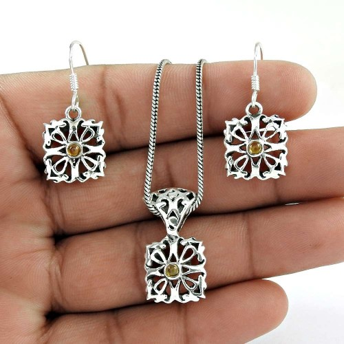 Sightly 925 Sterling Silver Citrine Gemstone Pendant and Earrings Set