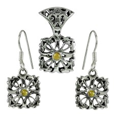 Well-Favoured 925 Sterling Silver Citrine Gemstone Pendant and Earrings Set
