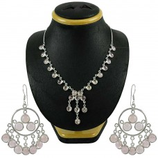 Amusable 925 Sterling Silver Rose Quartz Gemstone Necklace and Earrings Set