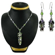 Engaging 925 Sterling Silver Multi Color Gemstones Necklace and Earrings Set
