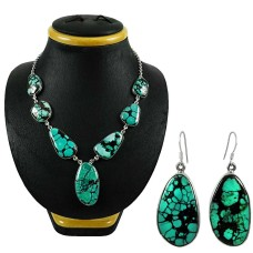 Daily Wear 925 Sterling Silver Turquoise Gemstone Necklace and Earrings Set