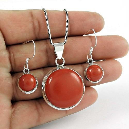 Designer 925 Sterling Silver Red Onyx Gemstone Earring Pendant Set