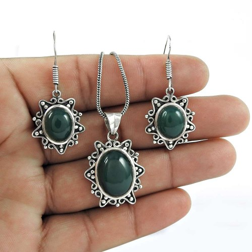 Party Wear 925 Sterling Silver Green Onyx Gemstone Earring Pendant Set