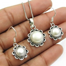 Beautiful Pearl Earring Pendant Set 925 Sterling Silver Vintage Jewelry A1