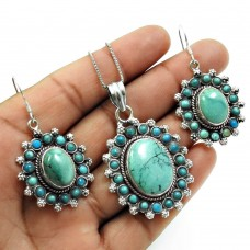 Turquoise Gemstone Earring Pendant Set 925 Sterling Silver Traditional Jewelry B1