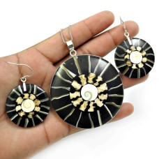 Shell Earring Pendant Set 925 Sterling Silver Ethnic Jewelry C1