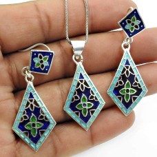 Inlay Earring Pendant Set 925 Sterling Silver Vintage Look Jewelry D1