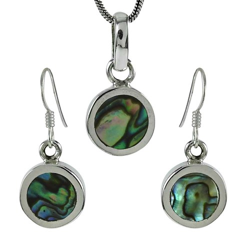 Pretty 925 Sterling Silver Abalone Shell Gemstone Pendant and Earrings Set