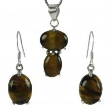 Lovely 925 Sterling Silver Tiger Eye Gemstone Pendant and Earrings Set