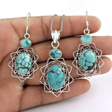 Scenic 925 Sterling Silver Turquoise Gemstone Pendant and Earrings Set