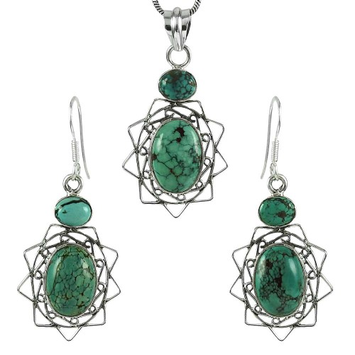 Graceful 925 Sterling Silver Turquoise Gemstone Pendant and Earrings Set
