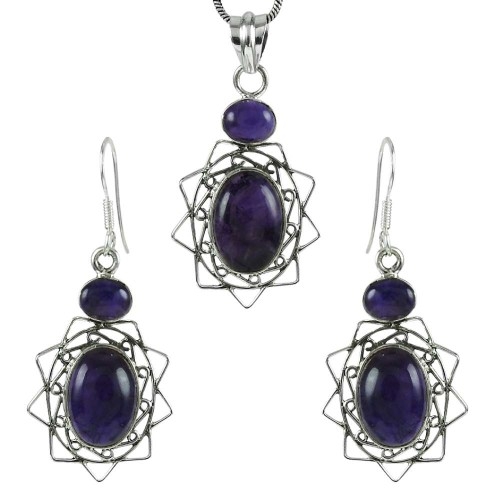 Stunning 925 Sterling Silver Amethyst Gemstone Pendant and Earrings Set