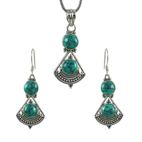 Good-Looking 925 Sterling Silver Turquoise Gemstone Pendant and Earrings Set