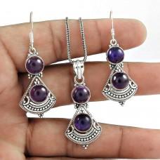 Personable 925 Sterling Silver Amethyst Gemstone Pendant and Earrings Set