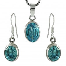 Handy 925 Sterling Silver Blue Topaz Gemstone Pendant and Earrings Set