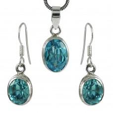 Handy 925 Sterling Silver Blue Topaz Gemstone Pendant and Earrings Set