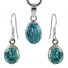 Dainty 925 Sterling Silver Blue Topaz Gemstone Pendant and Earrings Set