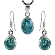 Possessing Good Fortune 925 Sterling Silver Blue Topaz Gemstone Pendant and Earrings Set