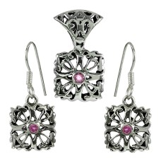 Sightly 925 Sterling Silver Pink CZ Gemstone Pendant and Earrings Set