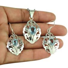 Beautiful Blue Topaz Gemstone 925 Sterling Silver Pendant and Earrings Set