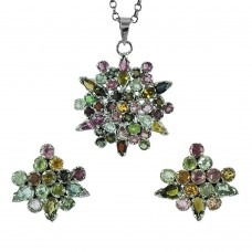 925 Sterling Silver Jewellery Charming Tourmaline Gemstone Earrings and Pendant Set Supplier India