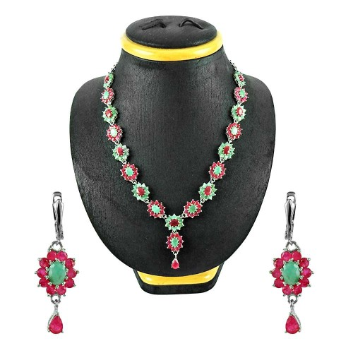 925 Sterling Silver Gemstone Jewellery Ethnic Ruby, Emerald Gemstone Earrings and Necklace Set