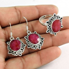 2018 Fashion 925 Sterling Silver Ruby Gemstone Earring and Ring Set