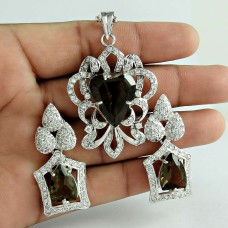 Royal Style 925 Sterling Silver Smoky Quartz CZ Gemstone Earring and Pendant Set