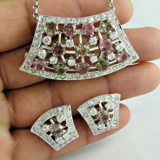 A Secret 925 Sterling Silver Tourmaline CZ Gemstone Earring and Pendant Set