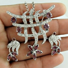 Awesome 925 Sterling Silver Ruby CZ Garnet Gemstone Earring and Pendant Set