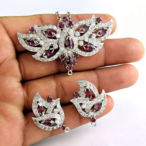 Big Relief 925 Sterling Silver Ruby CZ Gemstone Earring and Pendant Set