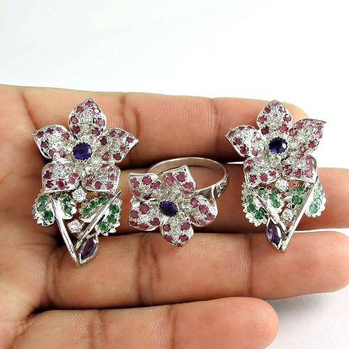 Big Secret 925 Sterling Silver Ruby Amethyst CZ Emerald Gemstone Earring and Ring Set