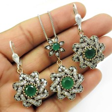 Emerald CZ Gemstone Earring Pendant Set 925 Sterling Silver Ethnic Jewelry M1