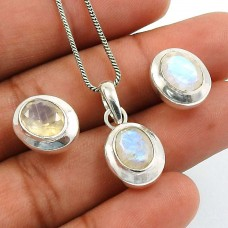 Rainbow Moonstone Gemstone Earring Pendant Set 925 Sterling Silver Traditional Jewelry B1