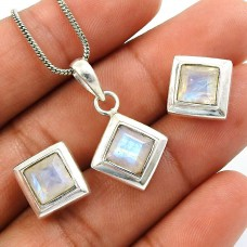 Rainbow Moonstone Gemstone Earring Pendant Set 925 Sterling Silver Indian Handmade Jewelry S1