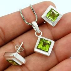 Peridot Gemstone Earring Pendant Set 925 Sterling Silver Handmade Indian Jewelry T1