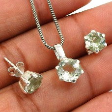 Green Amethyst Gemstone Earring Pendant Set 925 Sterling Silver Handmade Indian Jewelry D2