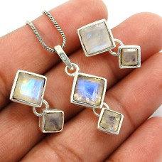Rainbow Moonstone Gemstone Earring Pendant Set 925 Sterling Silver Indian Jewelry L2