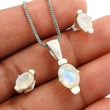 Rainbow Moonstone Gemstone Earring Pendant Set 925 Sterling Silver Tribal Jewelry T2