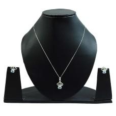 Blue Topaz Gemstone Earring Necklace Set 925 Sterling Silver Stylish Jewelry M3