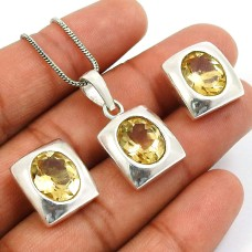 Citrine Gemstone Earring Pendant Set 925 Sterling Silver Vintage Look Jewelry V3